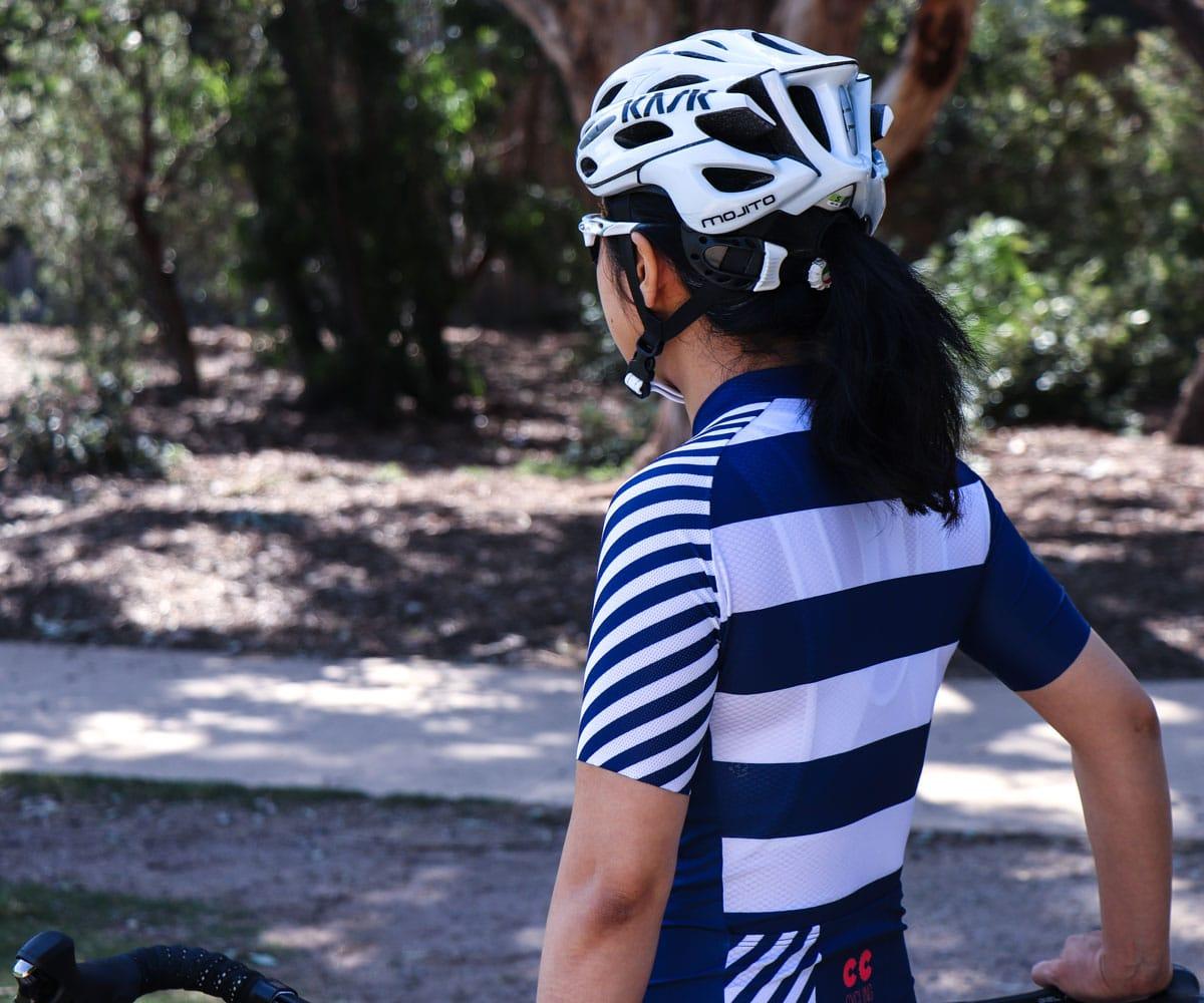 womens breton stripe cycling kit
